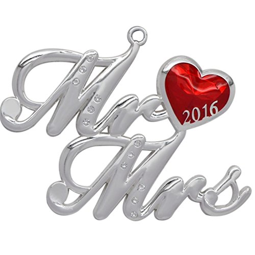 2016 Cursive Font Harvey LewisTM Mr. And Mrs. Silver-plated Ornament Made with Swarovksi® Elements