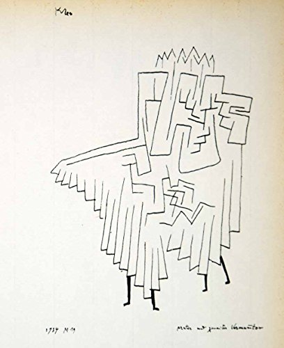 1958 Print Paul Klee First Second Masked Figure Abstract Line Drawing Art PL1 - Relief Line-block Print