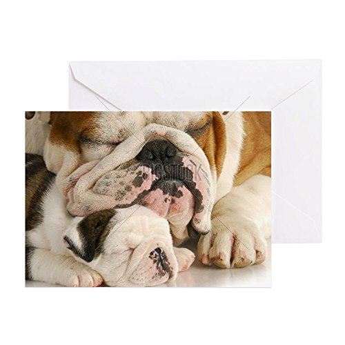 CafePress - Puppy Love - Bulldog Father And Daug - Greeting Card, Note Card with Blank Inside, Birthday Card or Special Occasion Glossy (English Bulldog Birthday Card compare prices)