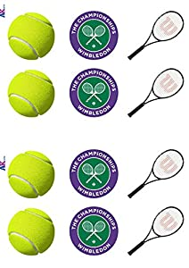 Wimbledon Tennis Themed Edible Stand-up Cup Cake Toppers (pack of 12)