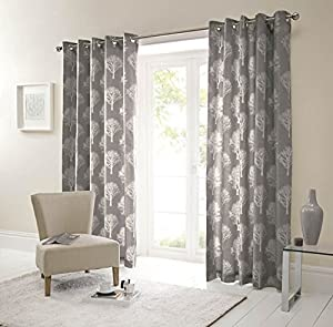 Forest Trees Charcoal White 90x90 Ring Top Lined Curtains #seertdnaldoow *cur* by Curtains