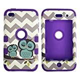 iPod Touch 4th Generation Case,Lantier 3 Layers Verge Hybrid Soft Silicone Hard Plastic TUFF Triple Impact Shockproof Quakeproof Defender Drop Resistance Protective Case Cover Wave Cheveron Owl Purple (Color: Touch 4th Waves Owl/Purple)