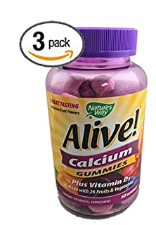 buy 3-Pack Natures Way Alive! Calcium Gummies Plus Vitamin D3 - 60 Gummies Gluten Free And Vegetarian Friendly; 180 Calcium Gummies