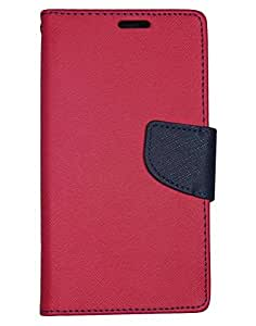 Aart Fancy Diary Card Wallet Flip Case Back Cover For Mircomax E313 - (Red) + USB Bracelet Cable with Charging and Sync for all smart phones by Aart Store.