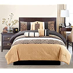 Modern 7 Piece Bedding Beige, Brown, Black and off-White Chenille Zebra Stripe QUEEN Comforter Set with accent pillows