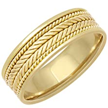 buy 14K Gold Braided Coil Twist Men'S Wedding Band (7Mm) Size-12.5