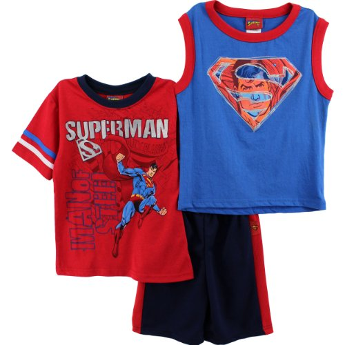 Superman Boys Red 3pc Top Shorts Set