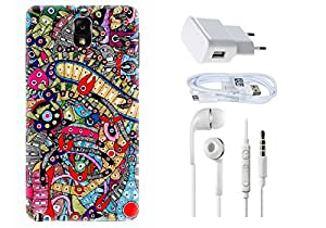 Spygen Samsung Galaxy Note 3 Case Combo of Premium Quality Designer Printed 3D Lightweight Slim Matte Finish Hard Case Back Cover + Charger Adapter + High Speed Data Cable + Premium Quality Handfree