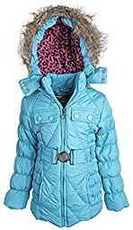 Dollhouse Baby Girls Down Alternative Removable Hood Winter Puffer Coat - Turquoise (12 Months)