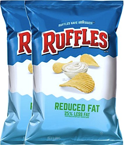 Ruffles Classic Reduced Fat 25% Less Fat Snack Care Package for College, Military, Sports 8.5 Oz Bag (2) (Ruffles Bbq Chips compare prices)