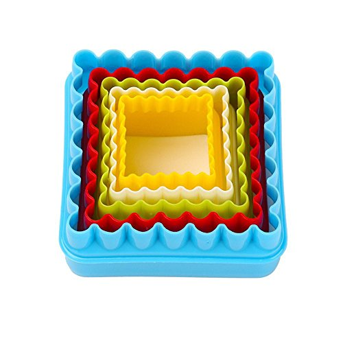 GoFriend® Multi-shaped Plastic Cookie Cutters Cake Fondant Molds Mousse Ring and Biscuit Cutter Set Different Sizes and Assorted Colors (Square) (Sandwich Cutter Square compare prices)