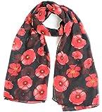 Joy To Wear Ladies Poppy Flower Print Fashion Scarf
