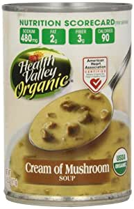 Health Valley Organic Soup, Cream of Mushroom, 14.5 Ounce (Pack of 12)