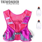 Triwonder Marathoner Race Hydration Vest Hydration Pack Backpack With 2 Water Bottles (Rose Red)