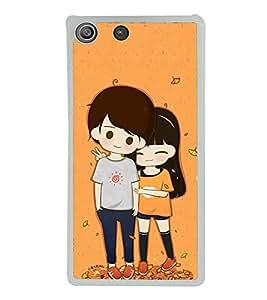 Cute Couple 2D Hard Polycarbonate Designer Back Case Cover for Sony Xperia M5 Dual :: Sony Xperia M5 E5633 E5643 E5663