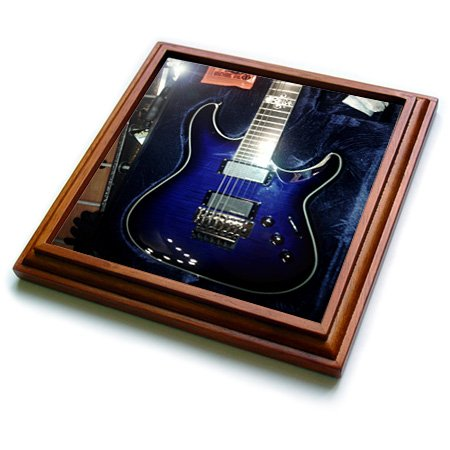 Florene - Music - Print Of Blue Electric Guitar With Chrome Skull - Trivets - 8X8 Trivet With 6X6 Ceramic Tile - Trv_194734_1