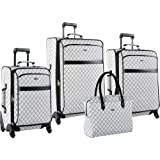 Pierre Cardin Signature Spinner Four Piece Luggage Set, Grey, One Size