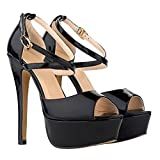 Zbeibei Womens Peep Toe Strappy Platform Stiletto Ladies High Heel Sandal