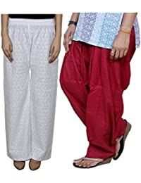 Indistar Women Full Cotton Chikan White Palazzo With Cotton Maroon Full Patiala Salwar - Free Size (Pack Of 1...