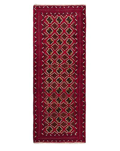 "Hand-Knotted Royal Baluch Wool Rug, Red, 2' 5"" x 6' 3"" Runner"