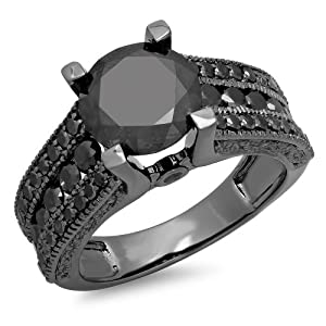 4.00 Carat (ctw) Black Plated 10K White Gold Round Black Diamond Ladies Vintage Style Solitaire With Accents Bridal Engagement Ring 4 CT (Size 7)