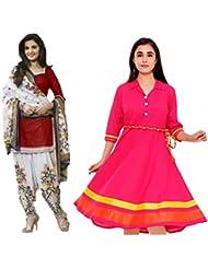 Sky Global Women's Regular Wear Dress Material And Kurti (Combo Pack Of 2)(SKY_DK_9013)(SKY_556_Red)(SKY_7001_...