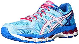 ASICS Women's Gel kayano 21 Running Shoe,Powder Blue/White/Hot Pink,8.5 M US