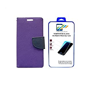 Mobi Fashion Flip Cover For HTC Desire 526 With Tempered Glass - Purple