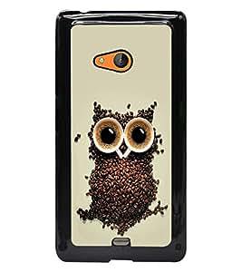 PrintDhaba Owl D-2191 Back Case Cover for MICROSOFT LUMIA 540 (Multi-Coloured)