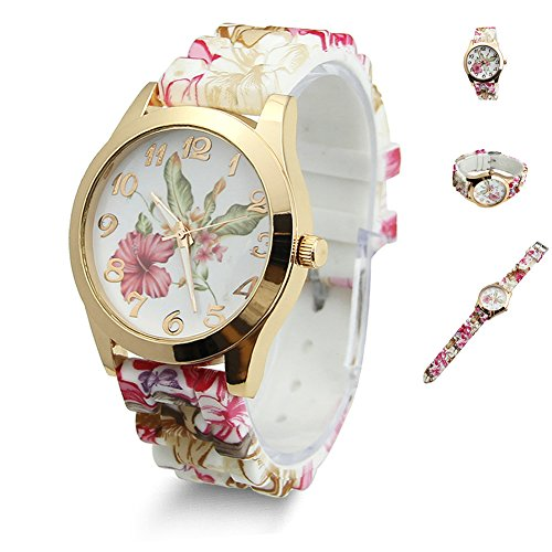 Estone Hot Fashion Women Dress Watch Silicone Printed Flower Causal Quartz Wristwatches