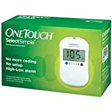 Johnson & Johnson One Touch Select Glucose Monitor With 50 Strips Glucometer, White