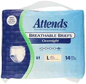 Attends Overnight Breathable Briefs size Large, 14 Count