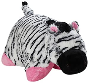"Pillow Pets Authentic 30"" Pink Zebra, Folding Plush Pillow- Jumbo"
