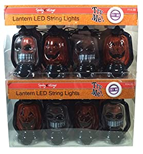 Amazon.com: Spooky Village Battery Operated Pumpkin & Skull LED Lantern String Lights, Pack of ...