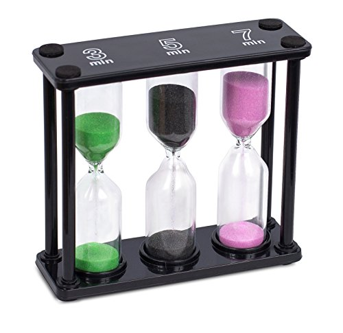 Internet's Best Sand Timer | 3, 5, & 7 Minutes | Colorful Hourglass Sand Clock Timers Kitchen | 3 in 1 | Small | Green Black Pink (Three Minute Sand Timer compare prices)