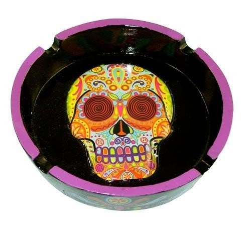 Day of the Dead Multi-colored Head Decorative Skull Polyresin Ashtray