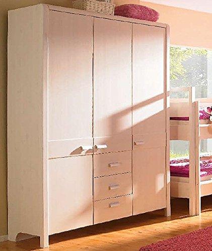 Jugendzimmer Kleiderschrank 3- turig 6725 weiss gewachst Kiefer massiv 150 cm Neu