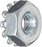 Carbon Steel Lock Nut, Zinc Plated Finish, Grade 2, Right Hand Threads, Self-Locking/Nylon Insert/With Toothed Washer, Inch