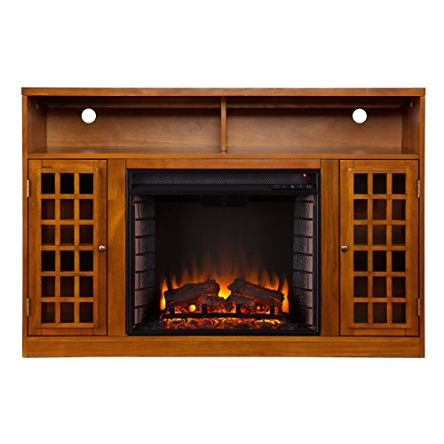 Narita Media Electric Fireplace - Glazed Pine (Entertainment Center Pine compare prices)