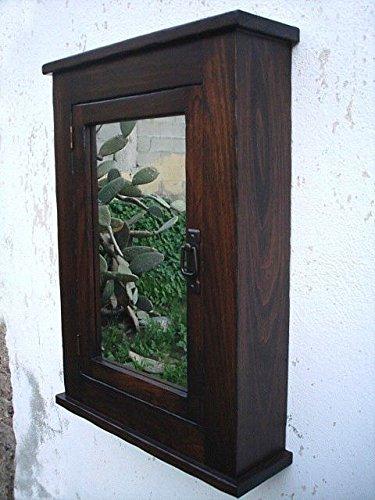 D&E Wood Craft Cabinets Primitive Mission Medicine Cabinet/Dark Walnut/Solid Wood & handmade/Surface mount