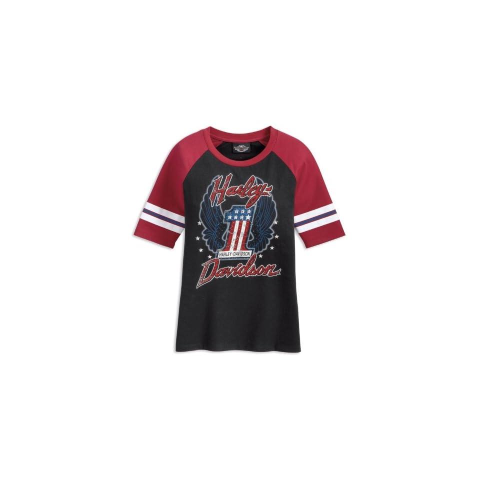 Harley Davidson T Shirt Raglan Number One 96156 11VW Damen Shirt