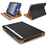MOFRED® Black & Tan Apple iPad Mini (All Versions including iPad Mini 4) Leather Case-MOFRED®- Executive Multi Function Leather Standby Case for Apple iPad Mini with Built-in magnet for Sleep & Awake Feature + Screen Protector + Stylus Pen