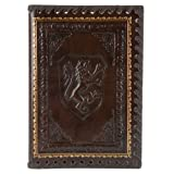 """Lions Refillable Leather Journal with Embossed Lion Crest, Gold Edge Sheets, Lined, 6x8"""""""