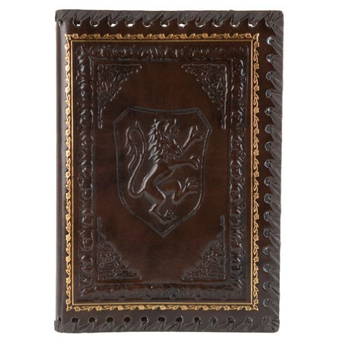 Eccolo Lions Refillable Leather Journal with Embossed Lion Crest, Gold Edge Sheets, Lined, 6x8