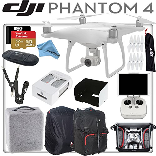 DJI Phantom 4 Quadcopter w/ eDigitalUSA Bundle: Includes Intelligent Flight Battery, SanDisk 32GB Extreme MicroSD Card, Monitor Hood, DJI/Manfrotto Backpack for Phantom 4 and more...