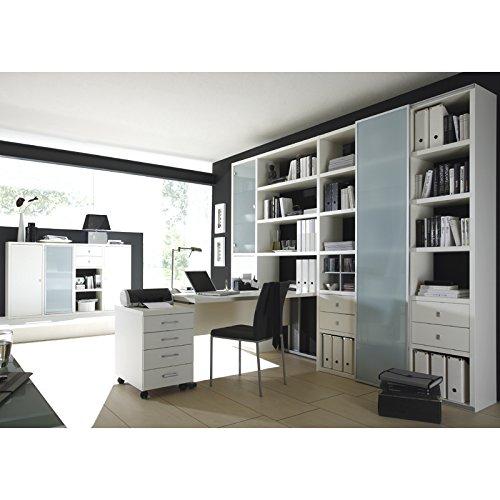 Wohnwand-Bcherregal-mit-Schreibtisch-Sideboard-TOLEO238-Lack-wei