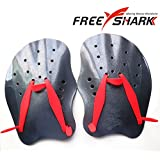 Free Shark Professional Contoured Swim Training Paddles (Red/Black), Free Size/Black/Red