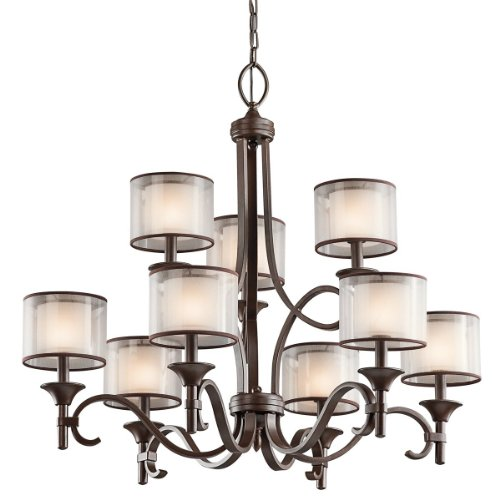B003F1J69W Kichler Lighting 42382MIZ Lacey 9-Light Chandelier, Mission Bronze with Cased Opal Inner Diffusers and Light Umber Translucent Outer Shades