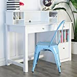 WE Furniture White Wood Deluxe Storage Computer Desk with Hutch