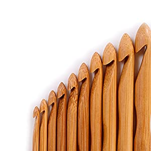 20Pcs Bamboo Crochet Hook Set Handle DIY Wooden Knitting Needle with Case 1-10mm (HM0002)